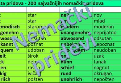 nemacki pridevi - lista