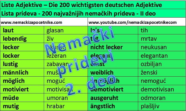 nemacki pridevi - lista - drugi deo